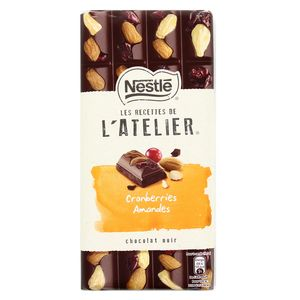 Les Recettes de l'Atelier Chocolat noir cranberries et amandes
