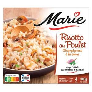 Marie Risotto au poulet et champignons à la crème sauce cuisinée aux échalotes et au persil