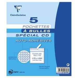 Clairefontaine 5 Pochettes bulle kraft blanc