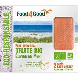 Food4Good 2 Pavés de Truites Bio avec peau sans arête élevée en mer