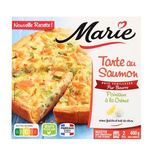 Marie Tarte au saumon et aux poireaux à la crème avec de la crème fraiche et un trait de citron