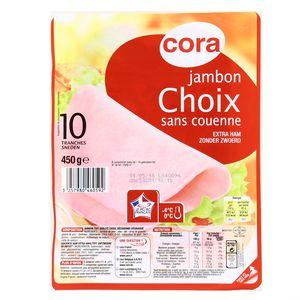 Cora Jambon cuit Choix découenné 450g