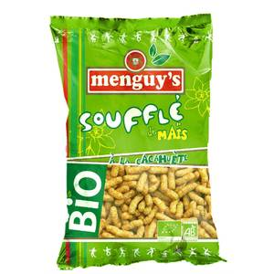 Menguy's Biscuits apéritifs soufflé de maïs à la cacahuète bio