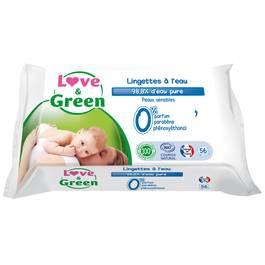Love & Green Lingettes à l'eau sans parfum pour peaux sensibles