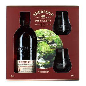 Aberlour Scotch whisky single highland malt 12ans 40° coffret 2 verres