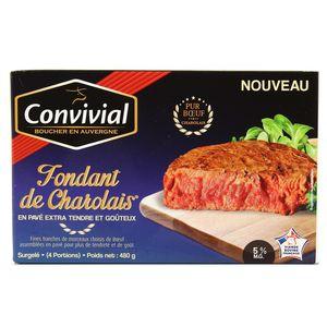 Convivial 4 Fondants de boeuf Charolais- Effeuillé de boeuf Charolais 5% MG 4x120g