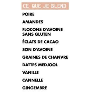 Blend my day Smoothie petit-déjeuner MORNING GLORY - prêt-à-mixer- Poire, Amandes, Cannelle
