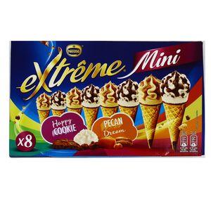 Extrême Mini 8 mini cônes glacés vanille pécan et cookie sauce au chocolat