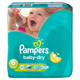 Pampers, Couches baby dry, taille 6 : 15 + kg, le paquet de 33