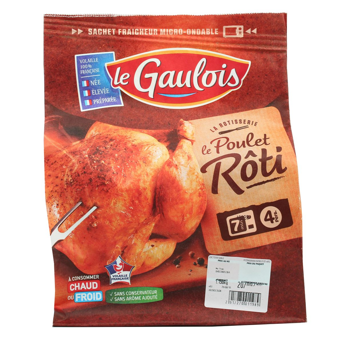Livraison à domicile Le Gaulois Poulet entier Rôti, Environ 9,9kg