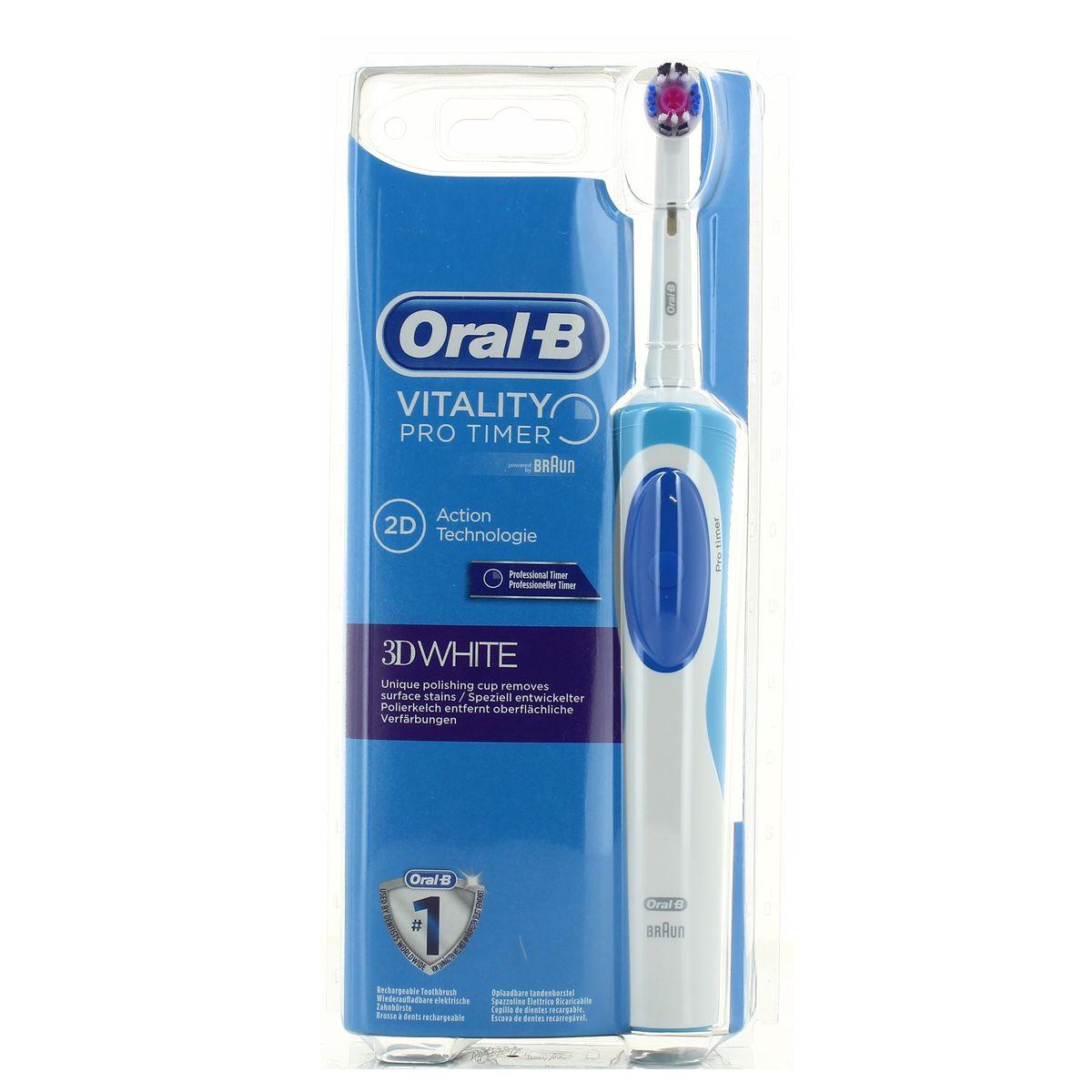 Oral B - Braun Brosse à dents électrique 3D White, 1 pièce   houra.fr e16a04183865
