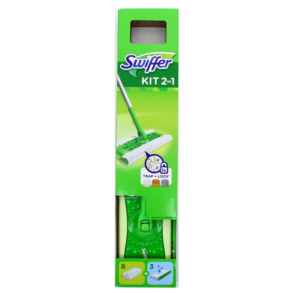 Swiffer Kit 2en1 Balai Déplié Et Lingettes Sèches Et Humides 1 Balai 11 Lingettes