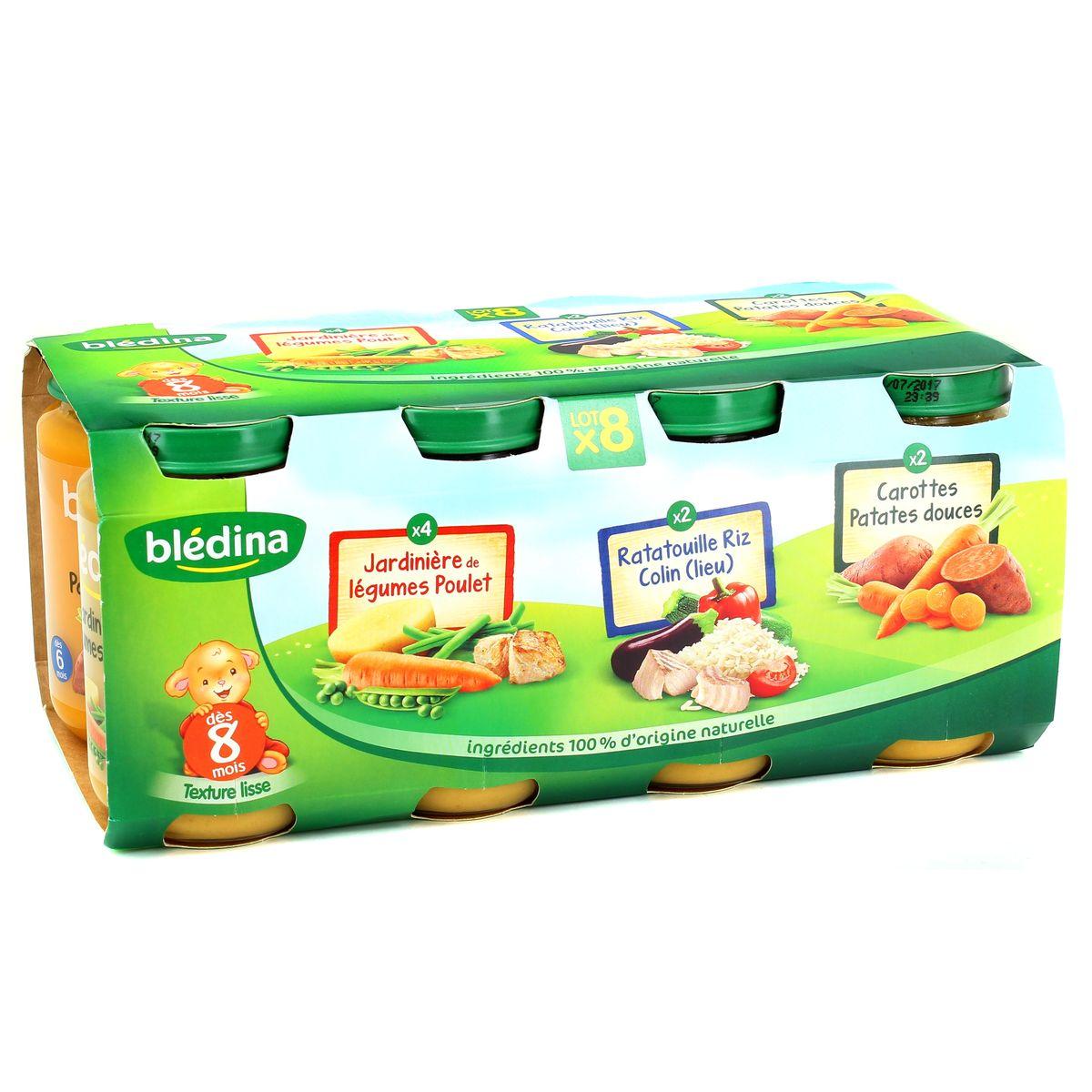 Initier Bébé Au Pot acheter blédina assortiment de petits pots salés dès 8 mois, 8x200g