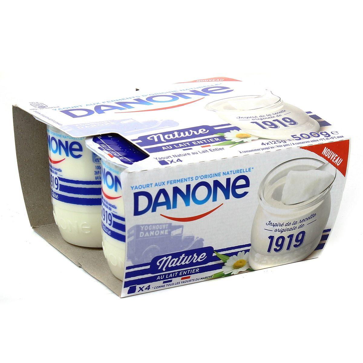 Danone Yaourt Nature Entier 4x125g Hourafr