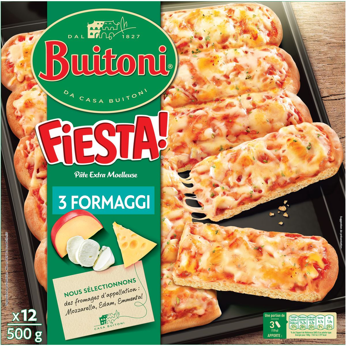 Buitoni Fiesta Pizza 3 Fromages Mozzarella Edam Emmental Et Sa Pate