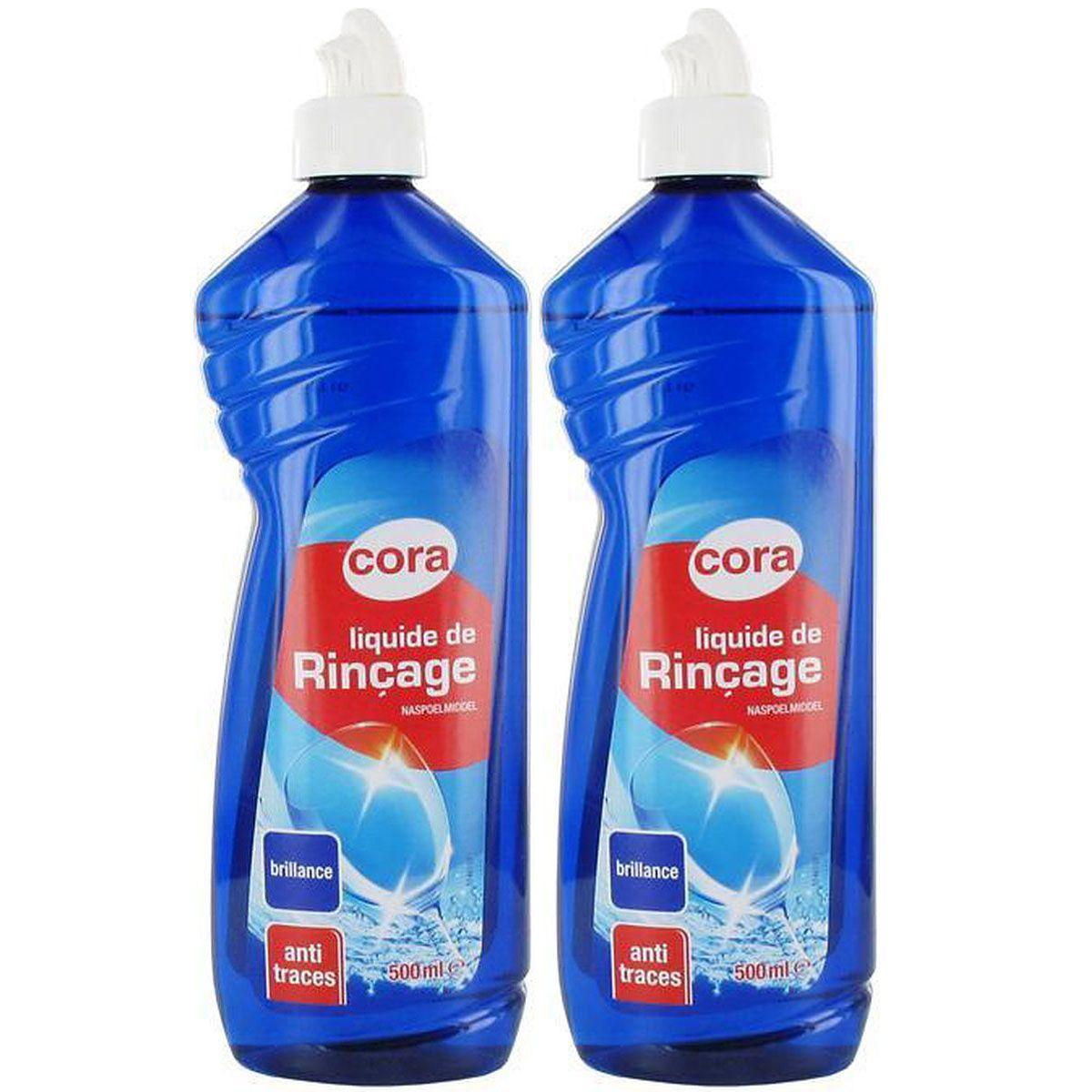 cora liquide de rinçage lave vaisselle, lot de 2x500ml : houra.fr