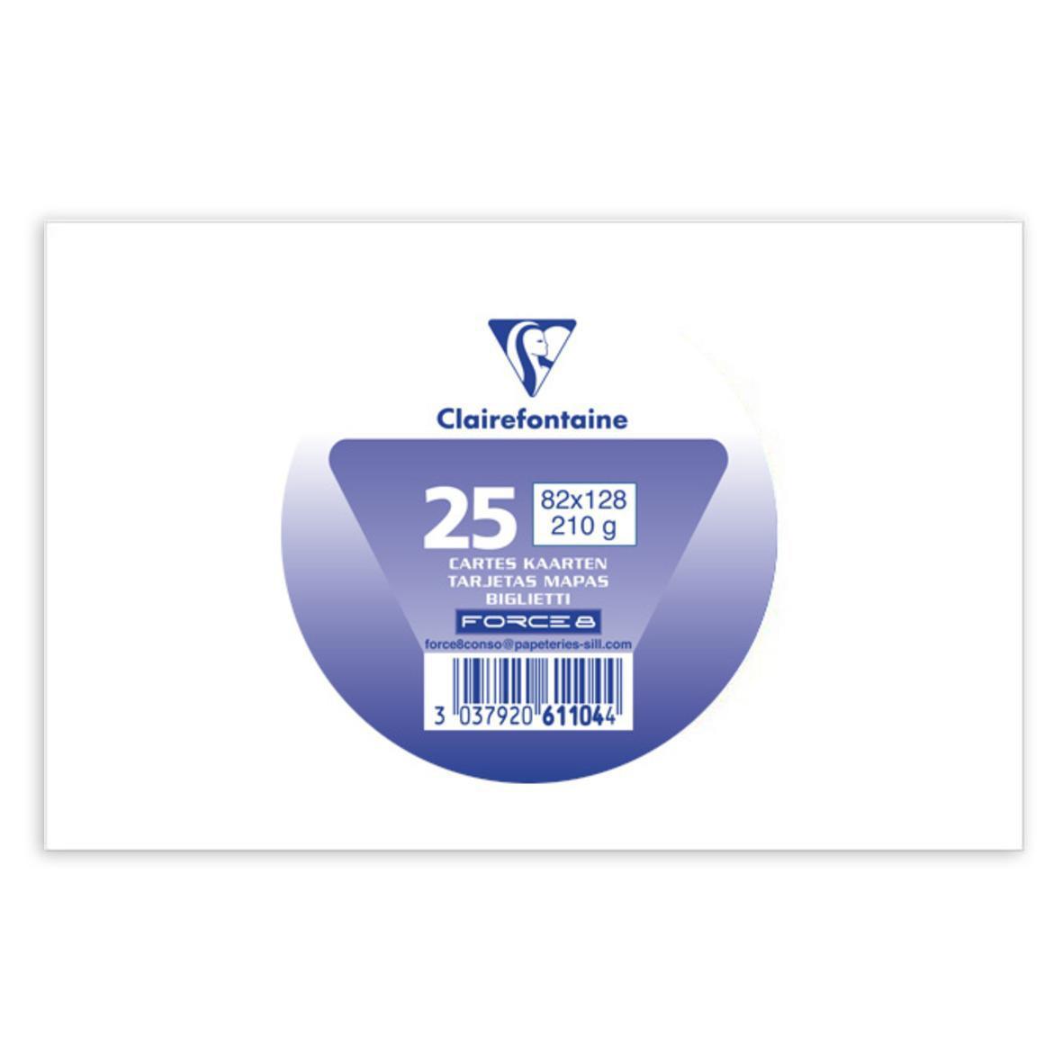Clairefontaine 25 Cartes De Visite Blanches Dimensions 82 X 128 Mm