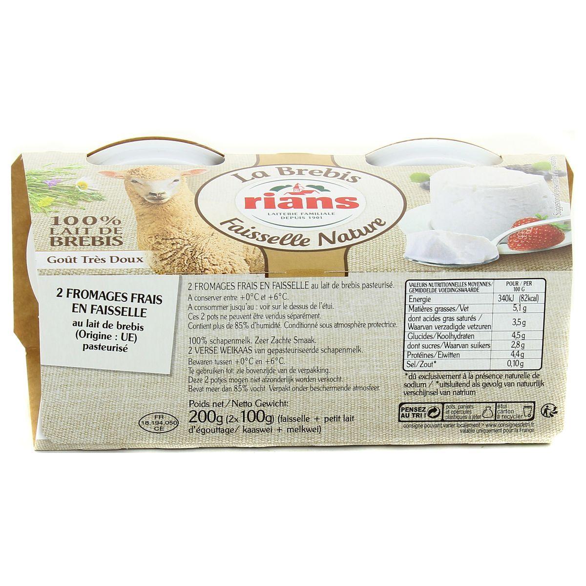 Rians La faisselle au lait de Brebis, 2x100g