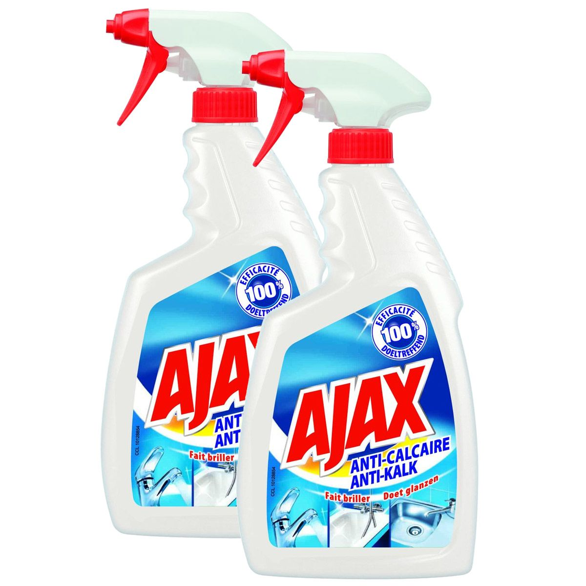 Ajax Spray Anti Calcaire Maxi Format Lot De 2×750 Ml Houra Fr