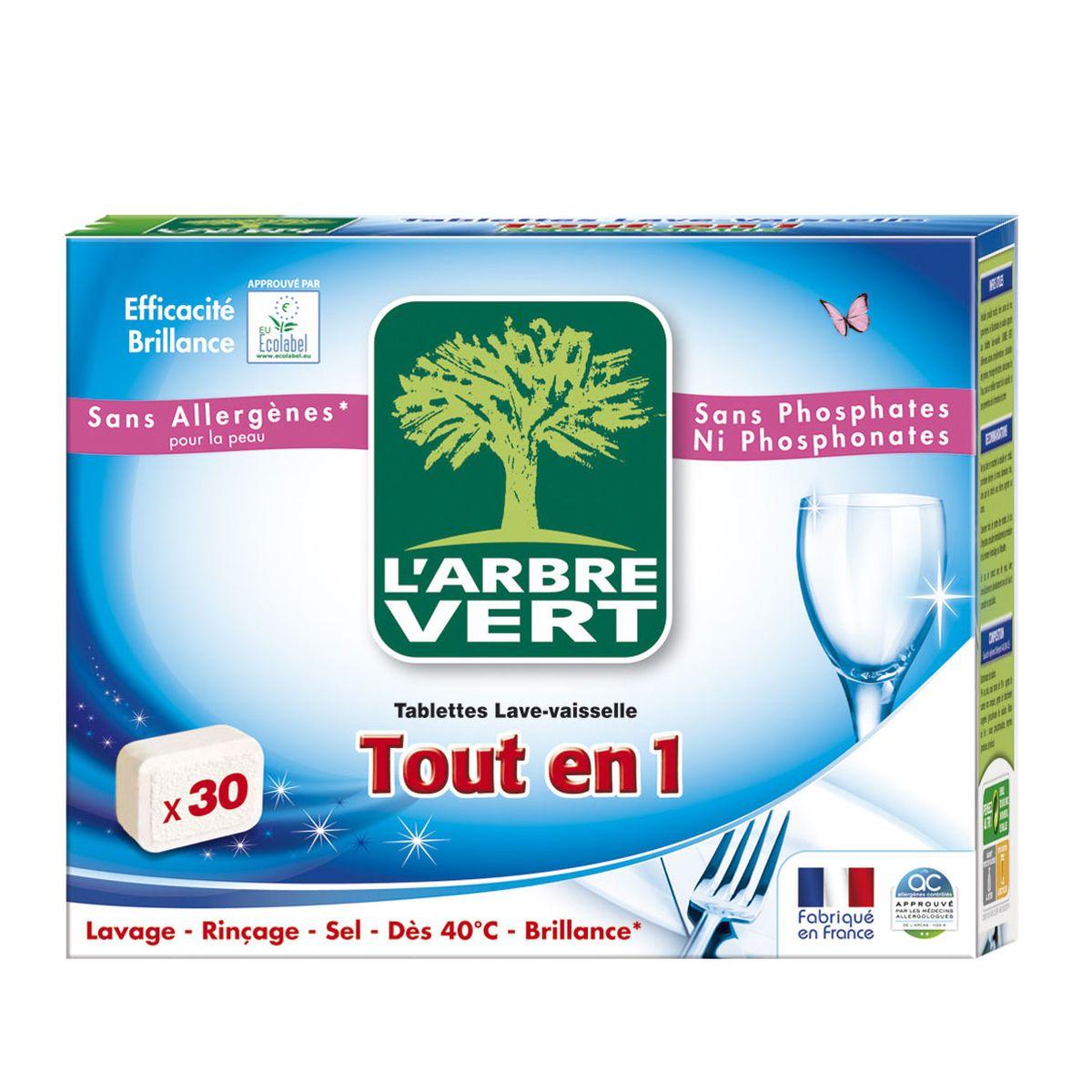 l'arbre vert tablettes lave vaisselle écologique tout en 1, 30