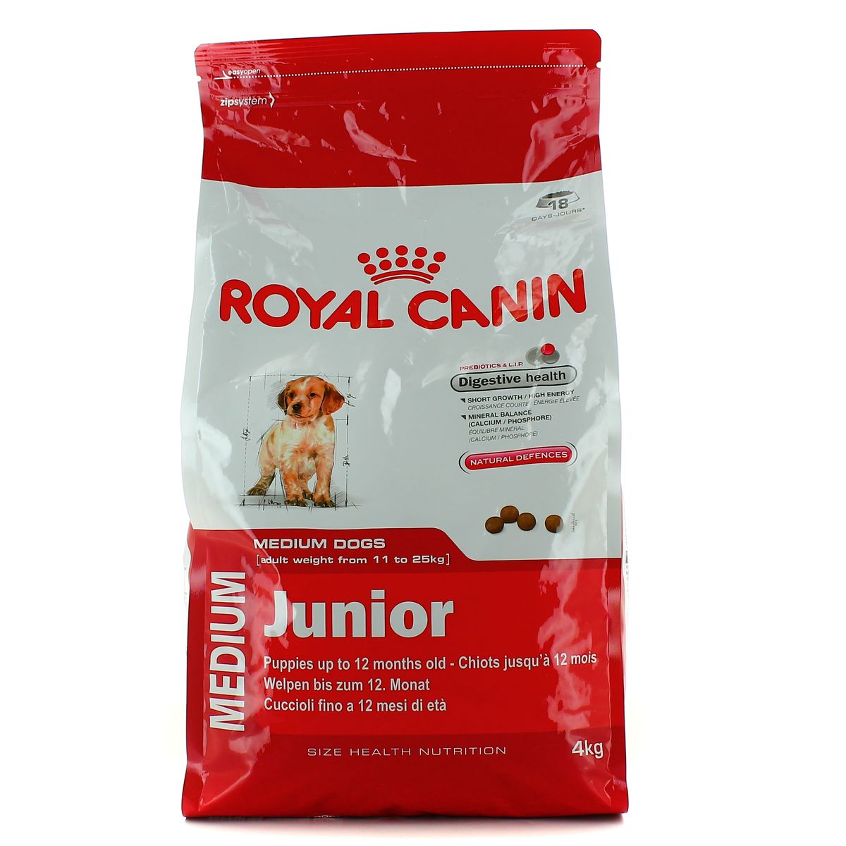 royal canin croquettes pour chien medium junior 4kg. Black Bedroom Furniture Sets. Home Design Ideas