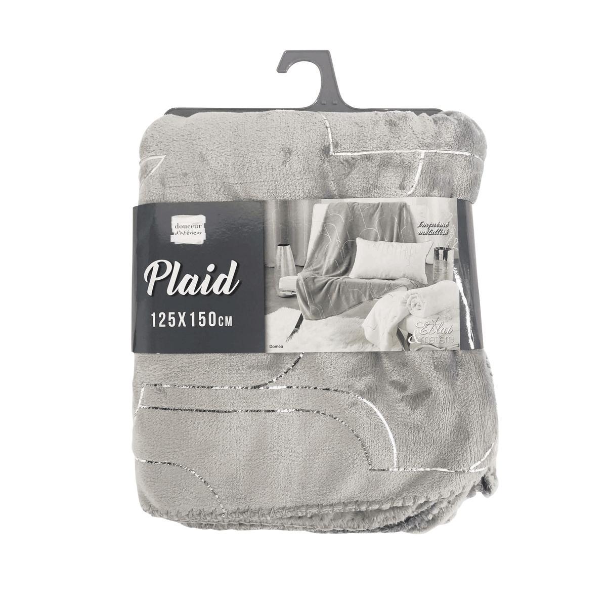 douceur dint/érieur plaid 125x150cm metallise veggy blanc//argent