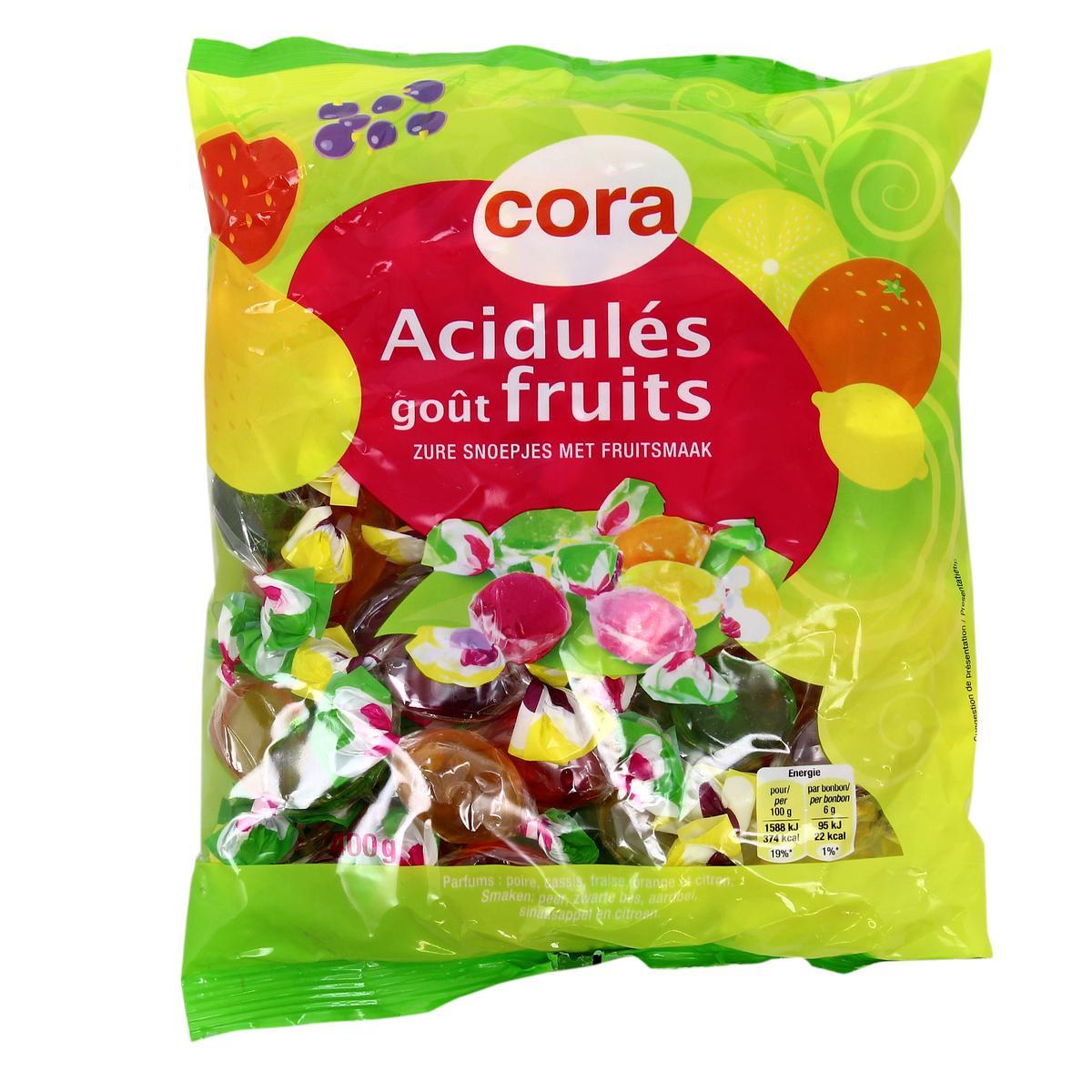 Livraison à domicile Cora Bonbons acidulés au goût de fruits, 10g