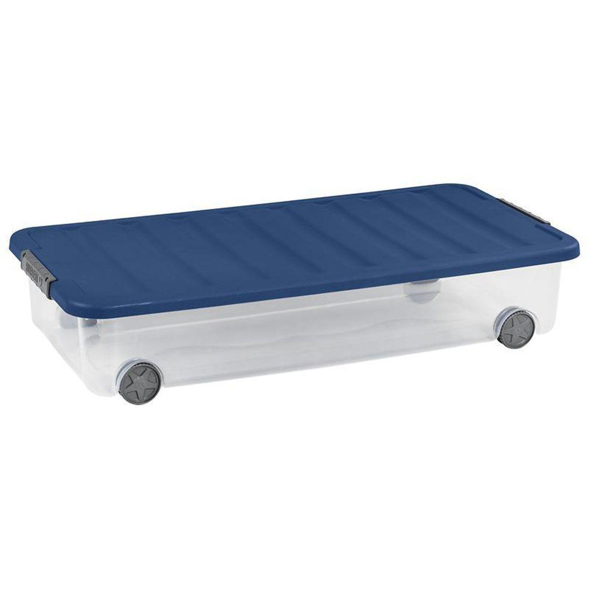 allibert box de rangement dessous de lit scotti bleu 35l. Black Bedroom Furniture Sets. Home Design Ideas