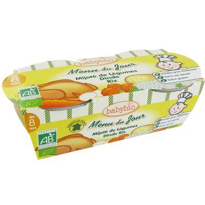 Petits pots mijote de legumes, dinde et riz BABYBIO, des 8 mois, 2x200g