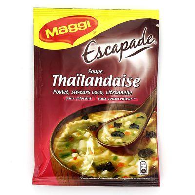 Escapade - Soupe deshydratee Thailandaise, poulet saveurs coco citron, le sachet de 65g