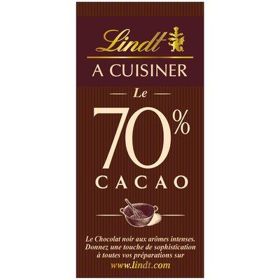 Dessert - Chocolat noir patissier - 1 tablette 70% de cacao. Son fondant et son arome intense en font le chocolat a patisser des grands amateurs de chocolat noirArome intense.