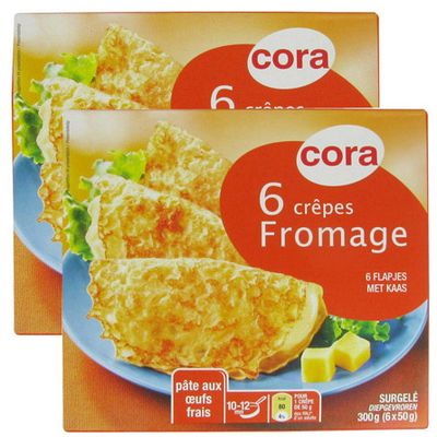 Crêpes fromage (6 piéces), Lot de 2 boites de ,CORA,2x300 g