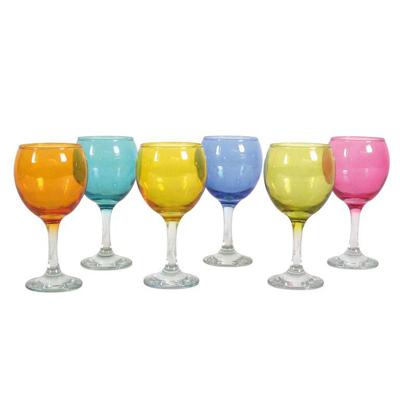 Coffret 18 verres à pied couleurs assorties