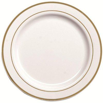 Assiettes blanches avec filets or 15cm,,