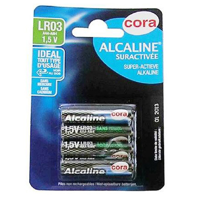 Cora Piles alcalines rondes LR03 1,5v