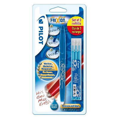 Pilot Stylo roller frixion ball encre effaçable turquoise  + 3 recharges encre turquoise pointe moyenne