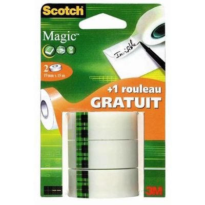 Scotch 3 Recharges rubans adhésif magic invisible 15 m x 19 mm