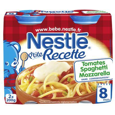 Petits pots recette Nestle Spaghettis tomate mozza 2x200g