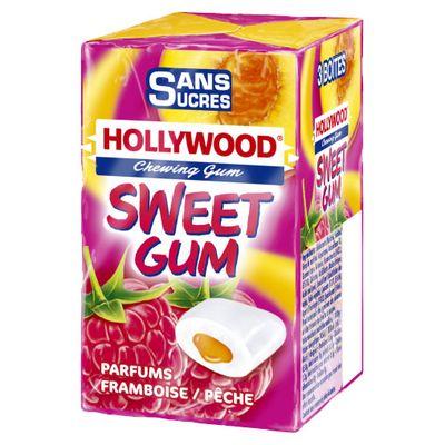 Hollywood Swett gum framboise peche sans sucre x3 - 66g