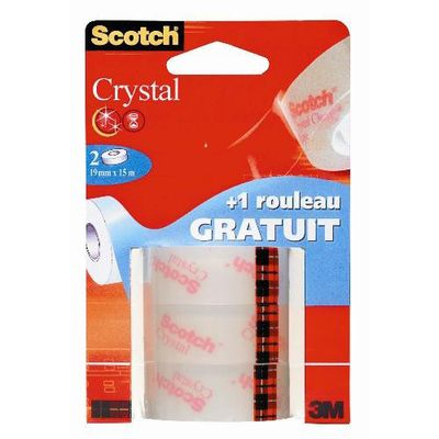 Scotch 3 Rubans adhésifs crystal transparent 15 m x 19 mm