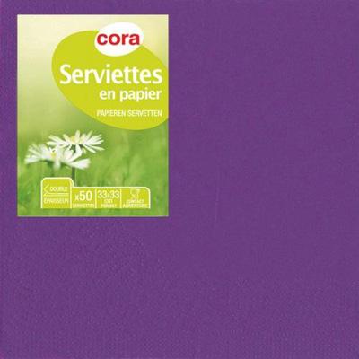 Cora Serviettes prune 2 plis 33x33cm