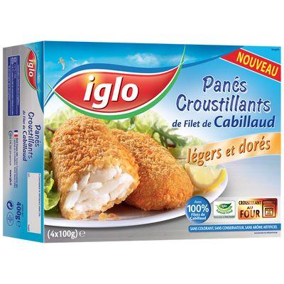 Iglo, Panes croustillants de filet de cabillaud, la boite de 4 - 400g