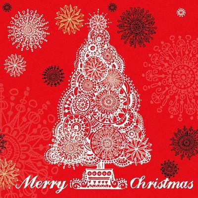 Merry Xtmas tree red ,Paperproducts Design,