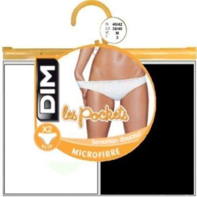 2 Slips Pocket microfibre DIM, taille 36/38, blanc et noir