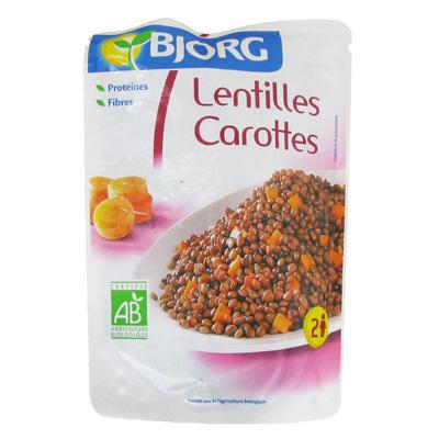 Lentilles bio cuisinees aux carottes BJORG, 250g