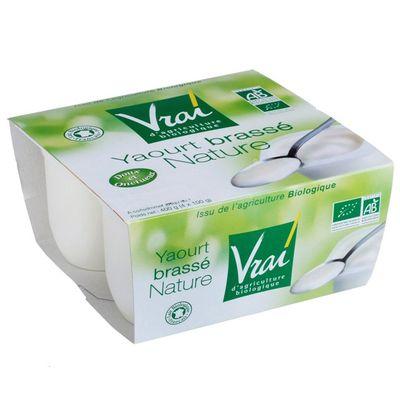 Yaourt brasse nature bio VRAI, 4x100g
