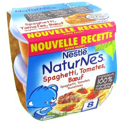 Petits pots Naturnes spaghetti Des 8 mois tomate boeuf 2x200g