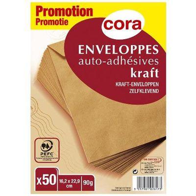 Cora Enveloppes kraft auto-adhésives 162 x 229 mm