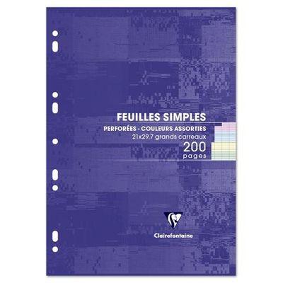 Clairefontaine Feuilles mobiles 21 x 29,7 cm couleurs grands carreaux