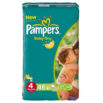 Pampers, Couches baby-dry, taille 4 : 7-18 kg, le paquet de 46